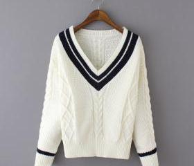 Sweet V-neck knit jacquard sweater WE91303PO