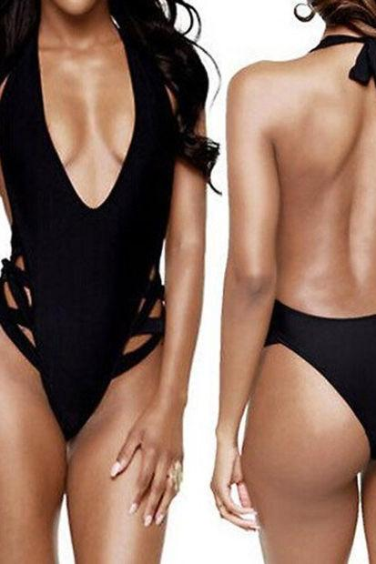 Women Sexy One-Piece Swimwear High Cut Monokini Backless Swimsuit Bikini