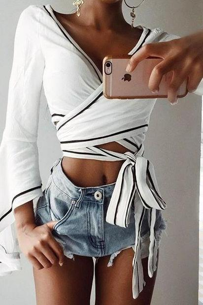 White Plunge V Flare-Sleeved Cropped Top Featuring Lace-Up Detailing