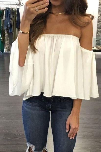 Chiffon Ruffled Off-The-Shoulder Half Sleeved Top