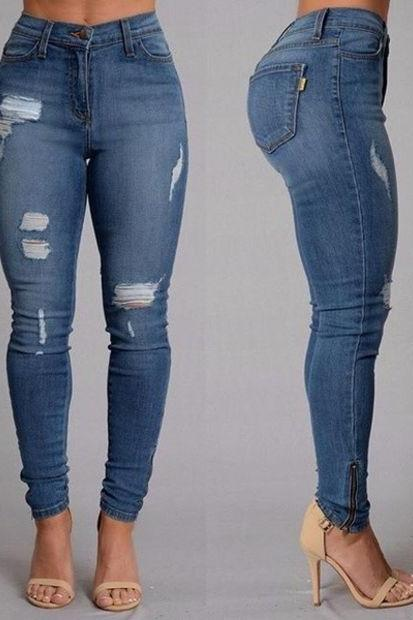 Women Jeans Full Length Mid-waist Pencil Pants