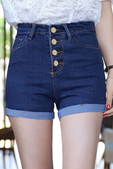 Design Elastic High Waist Denim Shorts