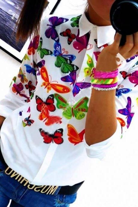 Women Printed White Long Sleeve Shirt