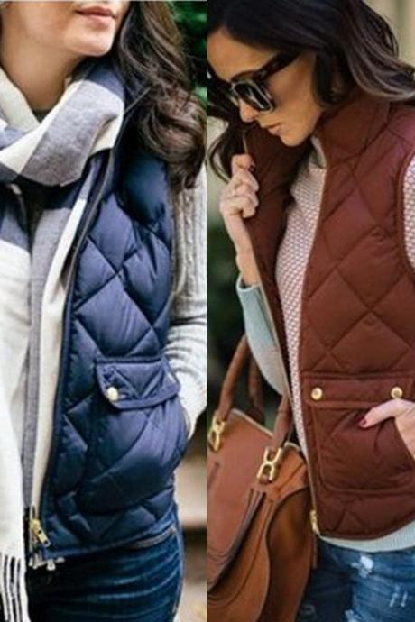 Quilted Puffy Vest Winter Coat