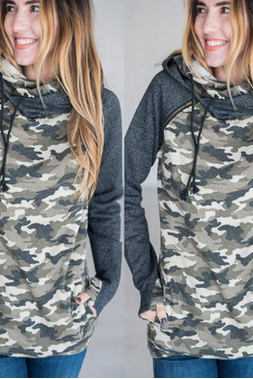 Long-Sleeved Printing Hooded Zipper Sweater