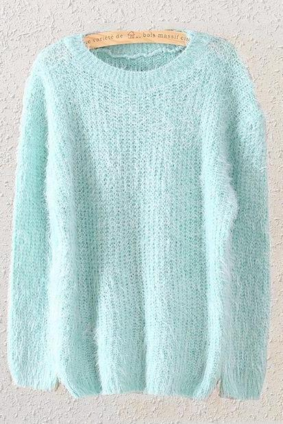 Mint Green Mohair Knit Crew Neck Long Cuffed Sleeves Sweater