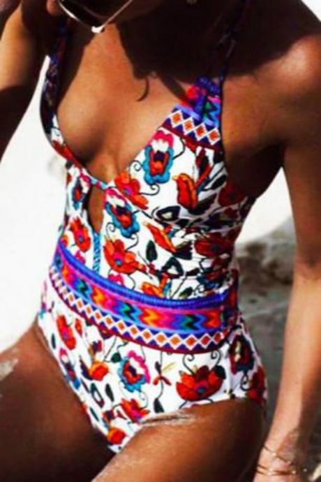 One Piece Cross Back Floral Swimwear