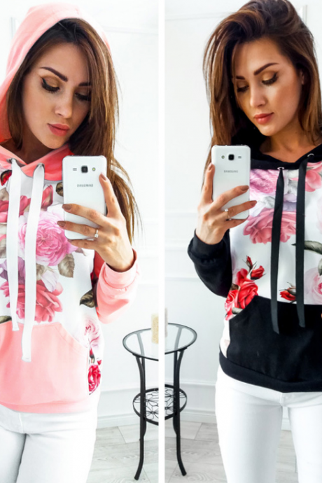 Long Sleeve Pocket Printing Hooded Sweater