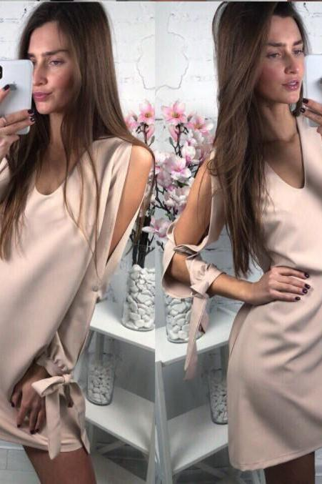 2018 Solid Color Sexy V Neck Long Sleeve Dress