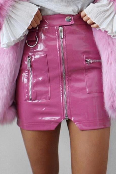 Pink Patent Leather Zipper Embellished High Waist Mini Skirt