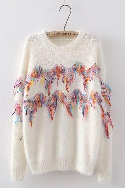 Loose round neck long-sleeved knit sweater WE11105PO