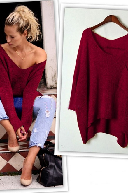 LOOSE LONG-SLEEVED ROUND NECK KNIT SWEATER