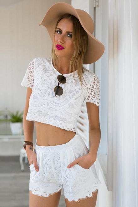 White Lace Two-Piece Shorts Featuring Short Sleeve Crew Neck Crop Top and Scallop Hem Shorts