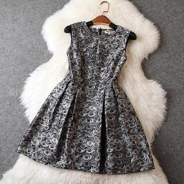 Retro Jacquard Beads Dress #ER122416HK