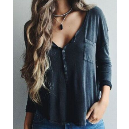 CASUAL V-NECK LONG-SLEEVED T-SHIRT
